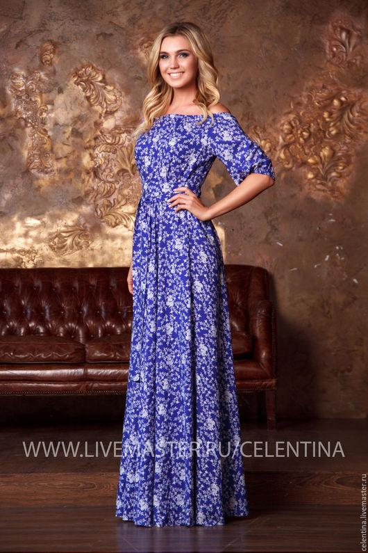 длинное платье на лето, платье синее цветочное, платье крестьянка, платье красивое, летнее платье, платье летнее в пол, красивое синее платье, платье в отпуск, платье с открытыми плечами, цветочное