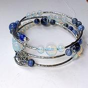 Украшения handmade. Livemaster - original item Bracelet multi-row Sea spray sodalite and moonstone. Handmade.