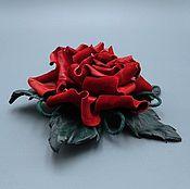 Украшения ручной работы. Ярмарка Мастеров - ручная работа Брошь заколка НИНЕЛЬ, цветок из натуральной кожи. Handmade.