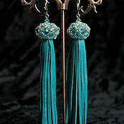 Украшения handmade. Livemaster - original item Oriental beauty - earrings tassels genuine leather. Handmade.