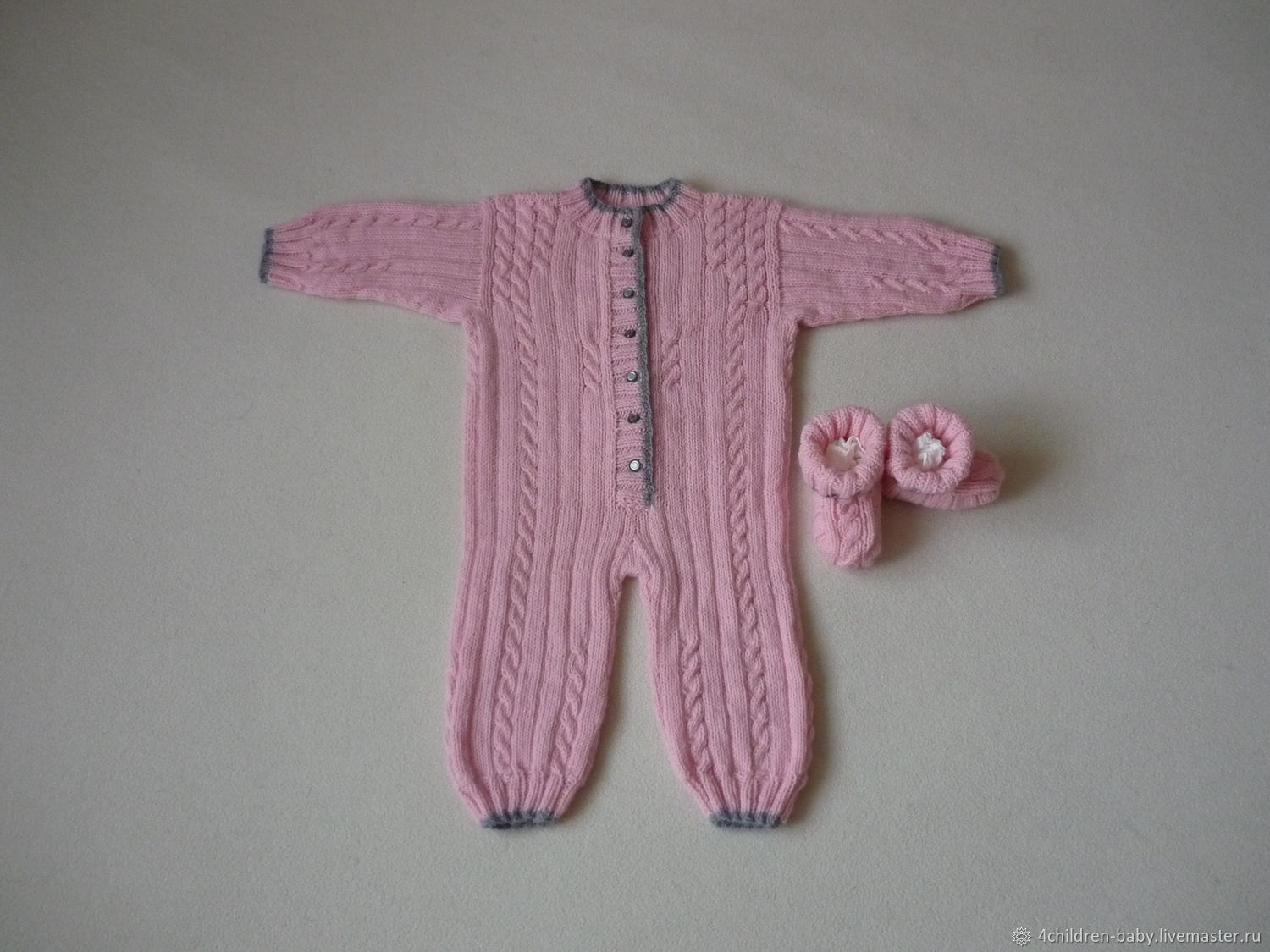 Light pink knitted set, Overall for children, Moscow,  Фото №1