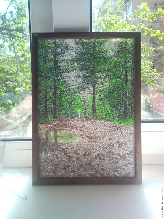 Пейзаж ручной работы. Ярмарка Мастеров - ручная работа. Купить Лесная природа. Handmade. Зеленый, лес, дождь, цветные карандаши