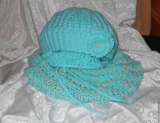 Детские аксессуары ручной работы. Ярмарка Мастеров - ручная работа. Купить Комплект Морской прибой  шапка и снуд для девочки. Handmade.