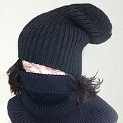 Аксессуары ручной работы. Ярмарка Мастеров - ручная работа Шапка вязаная тыква шапка черная. Handmade.