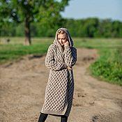 Одежда handmade. Livemaster - original item Knitted honeycomb coat with hood. Handmade.