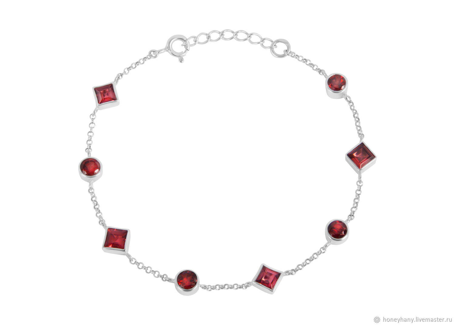 Silver bracelet with natural red garnet, Chain bracelet, Moscow,  Фото №1