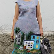 Одежда handmade. Livemaster - original item Felted dress is My favorite city. Handmade.