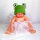 """Для новорожденных, ручной работы. шапочка для фотосессии """"Лягушка"""" (для новорожденных новорожденным). БЕСПЛАТНАЯ ДОСТАВКА (Юлия). Интернет-магазин Ярмарка Мастеров."""