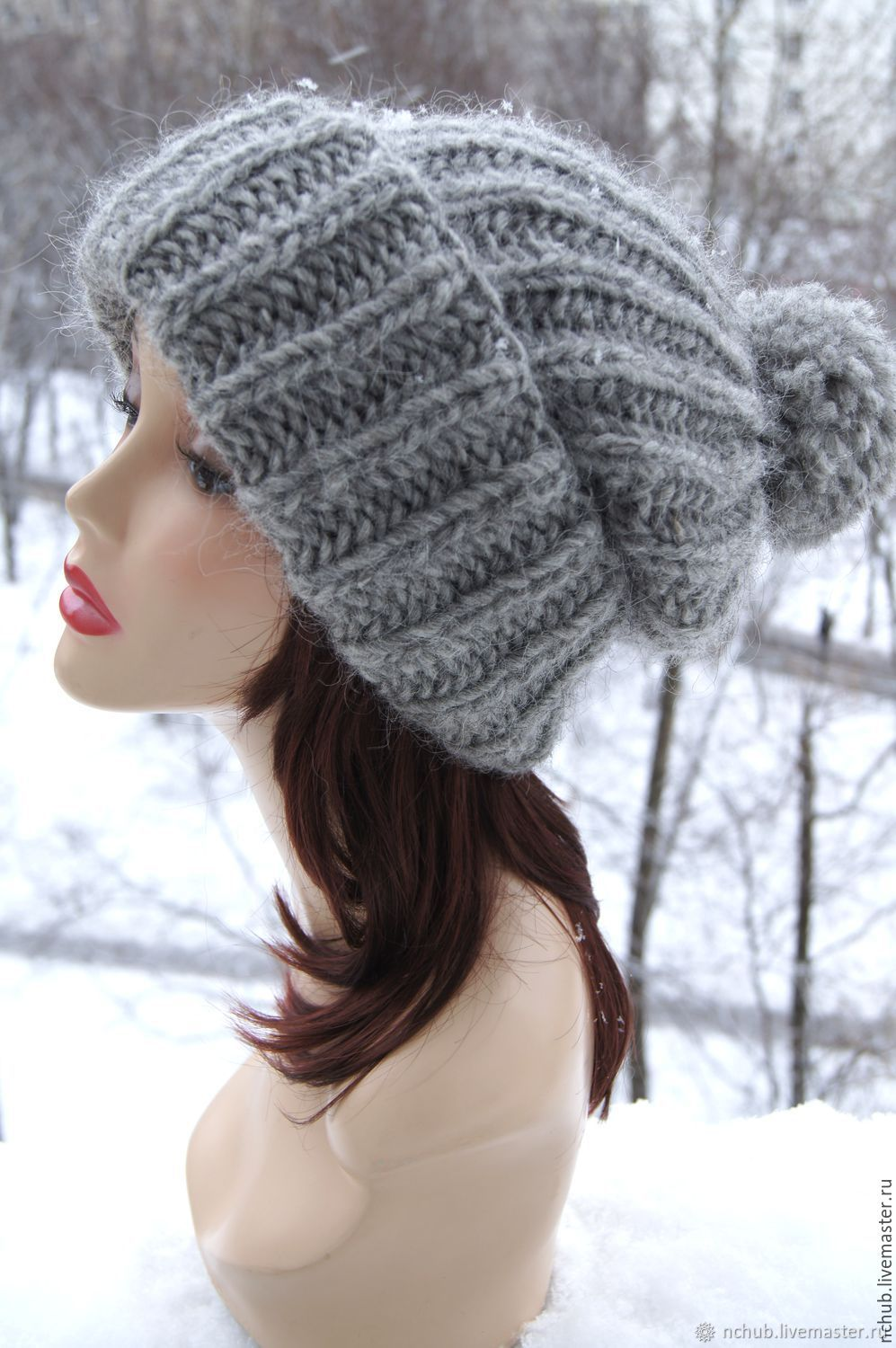 858f63cd0a9 Warm Grey knitted oversized hat made of Icelandic wool with pompon ...
