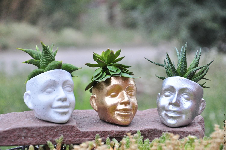 Кашпо ручной работы. Ярмарка Мастеров - ручная работа. Купить Мини-горшок для кактусов Face из бетона, креативное кашпо в стиле Лофт. Handmade.