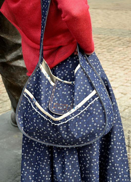 Женские сумки ручной работы. Ярмарка Мастеров - ручная работа. Купить сумка джинсовая Бохо. Handmade. Тёмно-синий