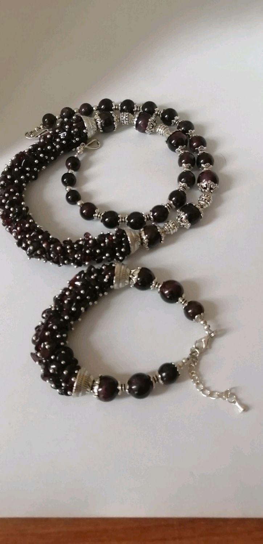 Ожерелье и браслет из натурального граната, Браслет из бусин, Петропавловск-Камчатский,  Фото №1