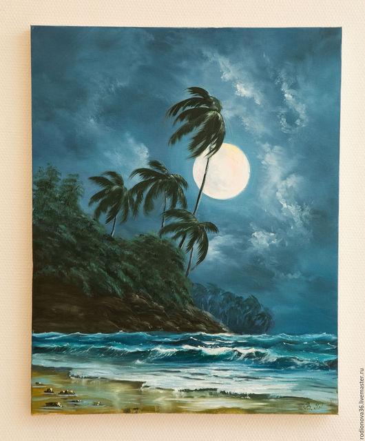 Пейзаж ручной работы. Ярмарка Мастеров - ручная работа. Купить Лунный свет (по мотивам). Handmade. Морская волна, море