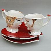 """Посуда ручной работы. Ярмарка Мастеров - ручная работа """"Жених и Невеста"""". Кофейные пары.. Handmade."""