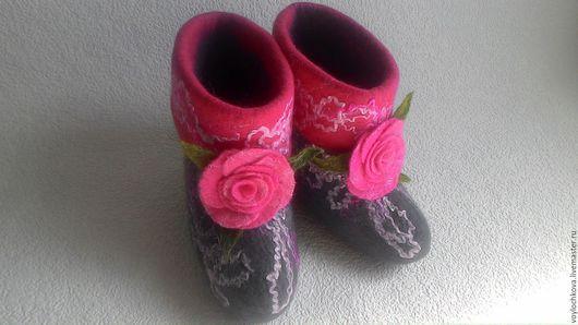 Обувь ручной работы. Ярмарка Мастеров - ручная работа. Купить Домашние валеночки Летнее натроение. Handmade. Розовый, подарок
