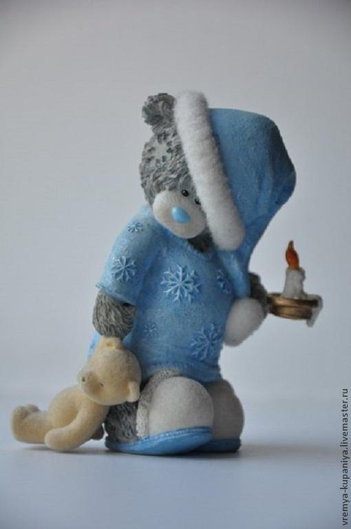 """Материалы для косметики ручной работы. Ярмарка Мастеров - ручная работа. Купить 3D Силиконовая форма для мыла  """"Тедди в пижамке со свечкой"""". Handmade."""
