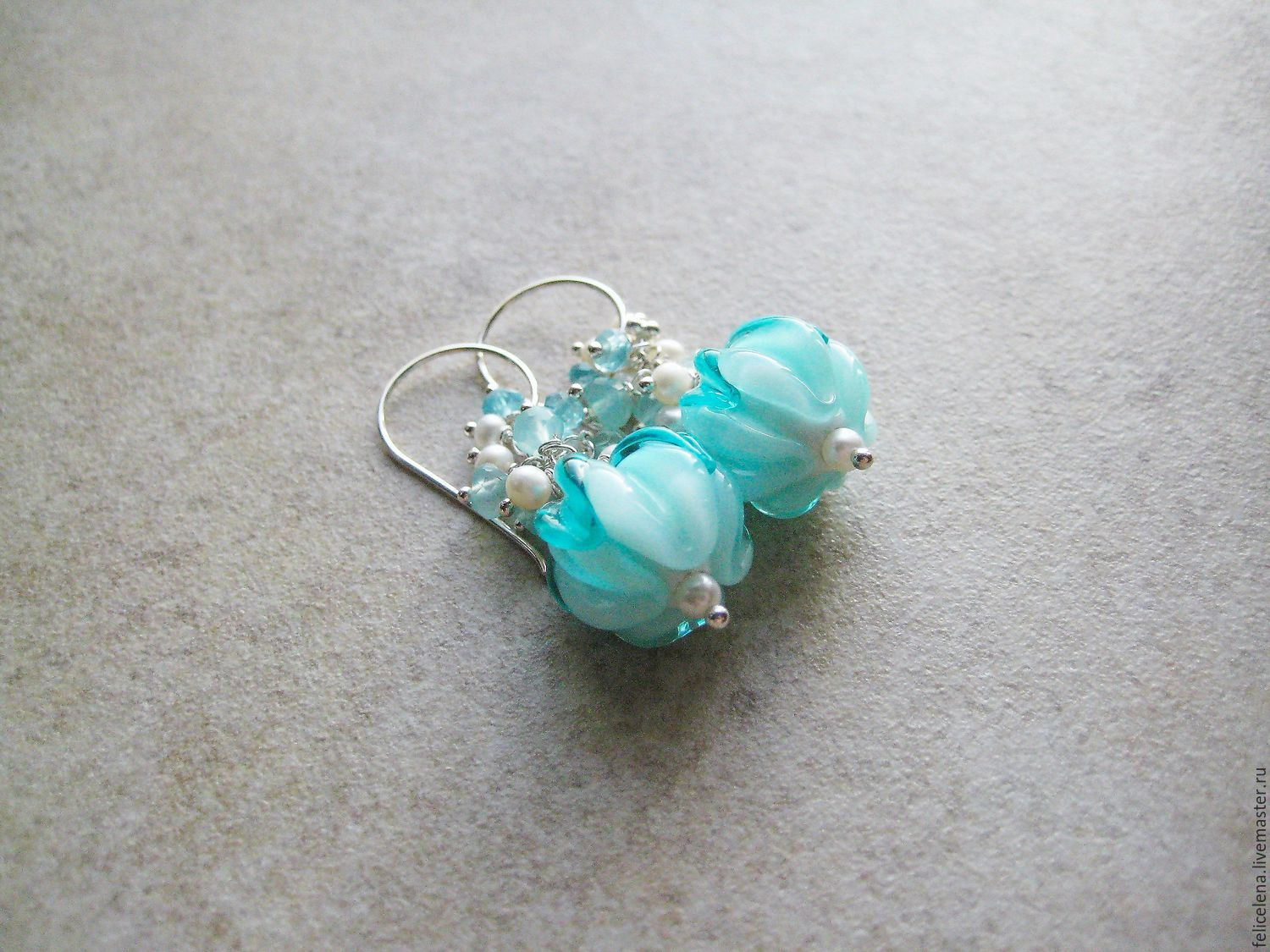 Earrings Handmade Livemaster Tiffany Blue Silver Pearl Aquamarine Chalcedony