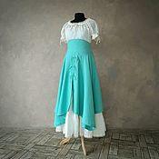 handmade. Livemaster - original item Swing linen skirt in Tiffany color. Handmade.