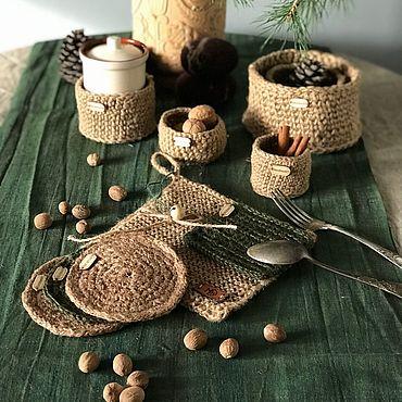 Для дома и интерьера ручной работы. Ярмарка Мастеров - ручная работа Салфетки и прихватки из джута. Handmade.