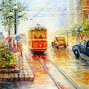 """Картины и панно ручной работы. Ярмарка Мастеров - ручная работа Картина """"Вечерний трамвай"""", 40ж50 см бесплатная доставка,. Handmade."""
