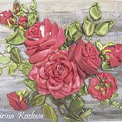 """Картины и панно ручной работы. Ярмарка Мастеров - ручная работа Картина вышитая лентами """"Красные розы"""". Handmade."""