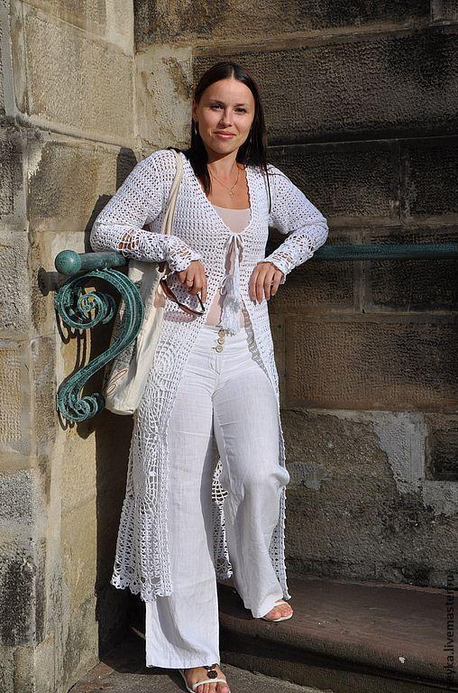 Sweatshirts & Sweaters handmade. Livemaster - handmade. Buy Cardigan summer crochet ' Crimea'.Crochet, openwork cardigan