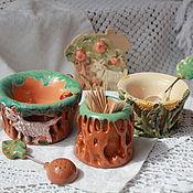 Для дома и интерьера ручной работы. Ярмарка Мастеров - ручная работа Солонки с ложками Резные керамика. Handmade.