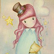 Картины и панно ручной работы. Ярмарка Мастеров - ручная работа Картина маслом - Девочка с розовыми волосами. Аниме.. Handmade.