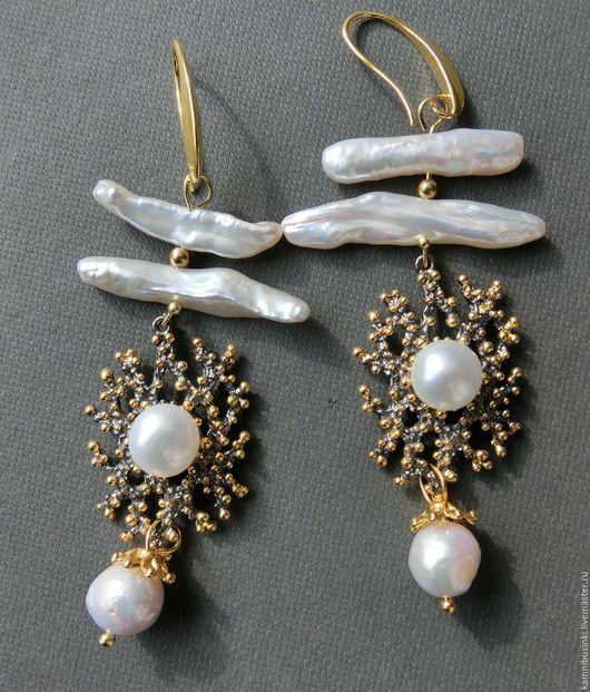 Серьги Коралл барочного жемчуга касуми, бива позолота, серебро 925 пробы - ручная работа Kamnibusinki.