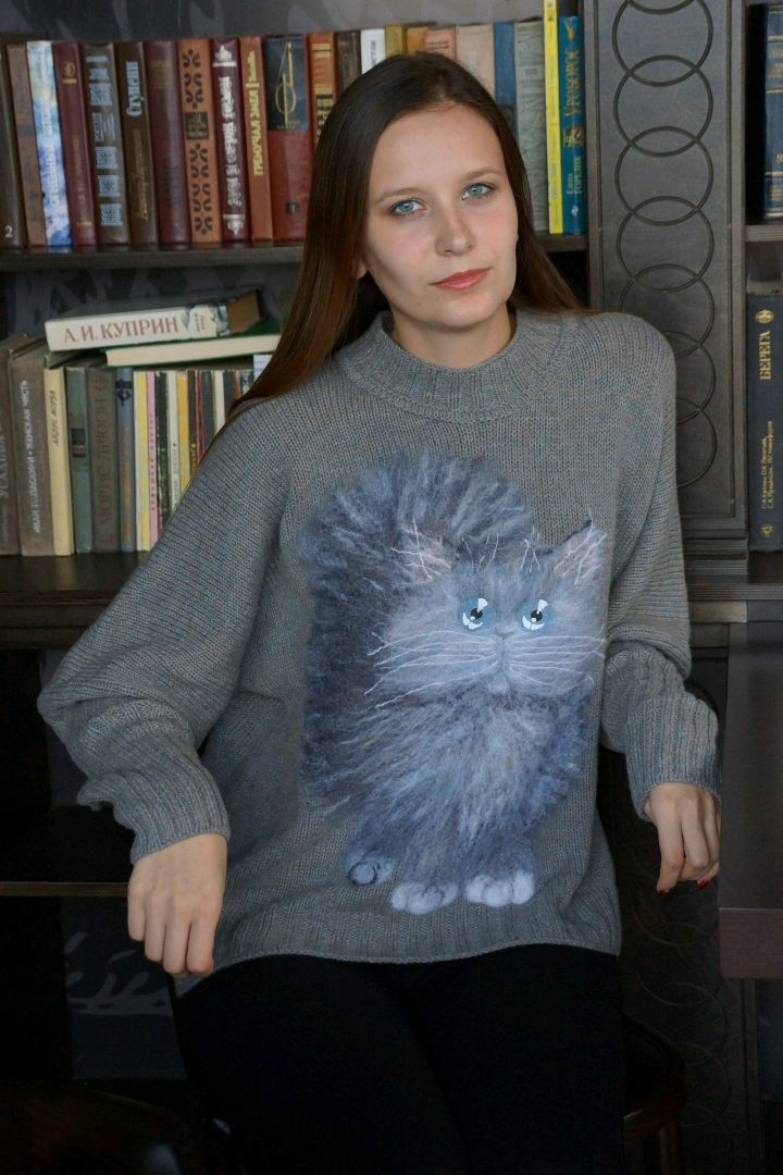Свитер вязаный Cat N2, Свитеры, Великие Луки, Фото №1