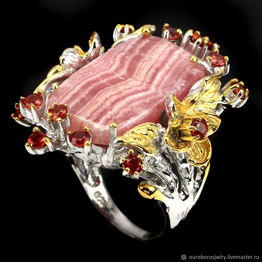 Silver ring with rhodochrosite and sapphire, Rings, Novosibirsk,  Фото №1