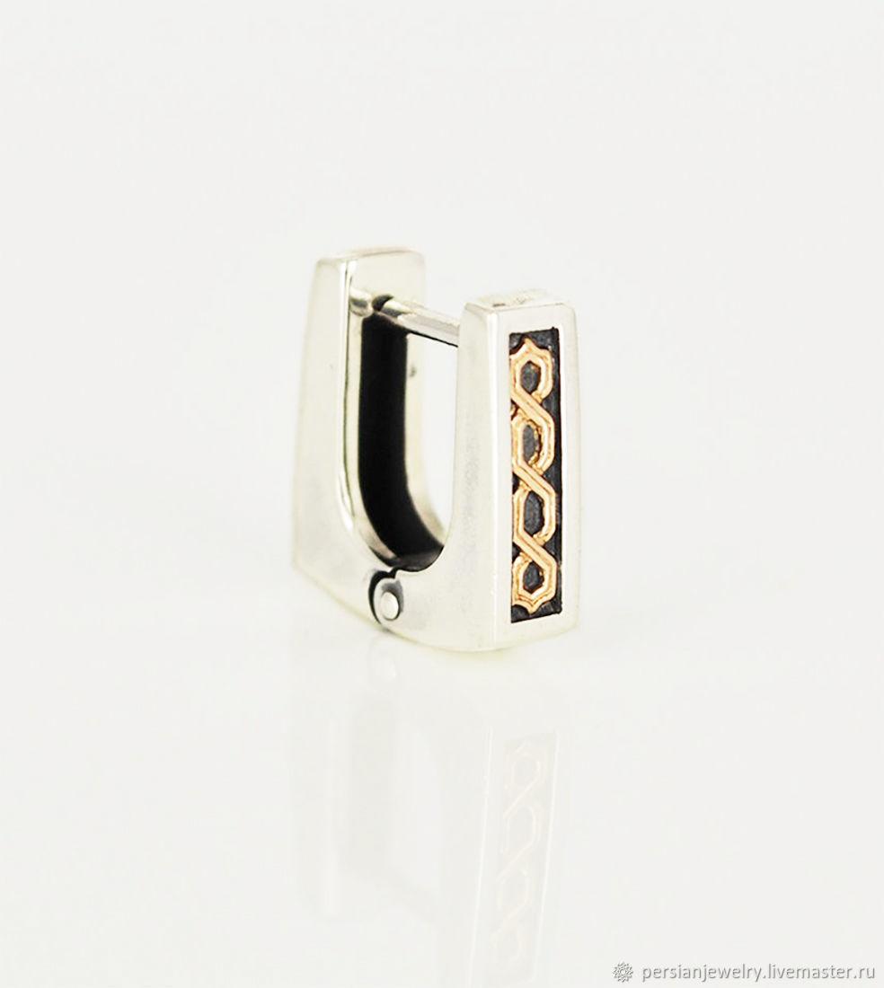 Men's earring with gold pattern, Single earring, Sevastopol,  Фото №1
