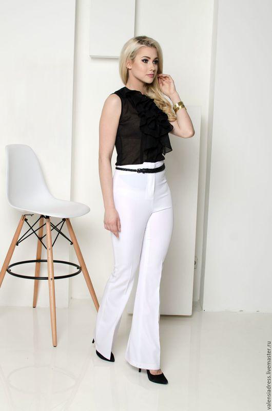 летние белые брюки, брюки клеш, брюки с завышенной талией