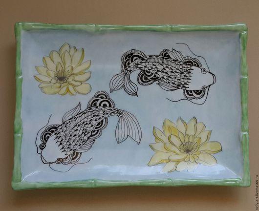 Тарелки ручной работы. Ярмарка Мастеров - ручная работа. Купить Волшебные рыбы. Тарелочка-подносик для суши. Handmade. Роспись по фарфору