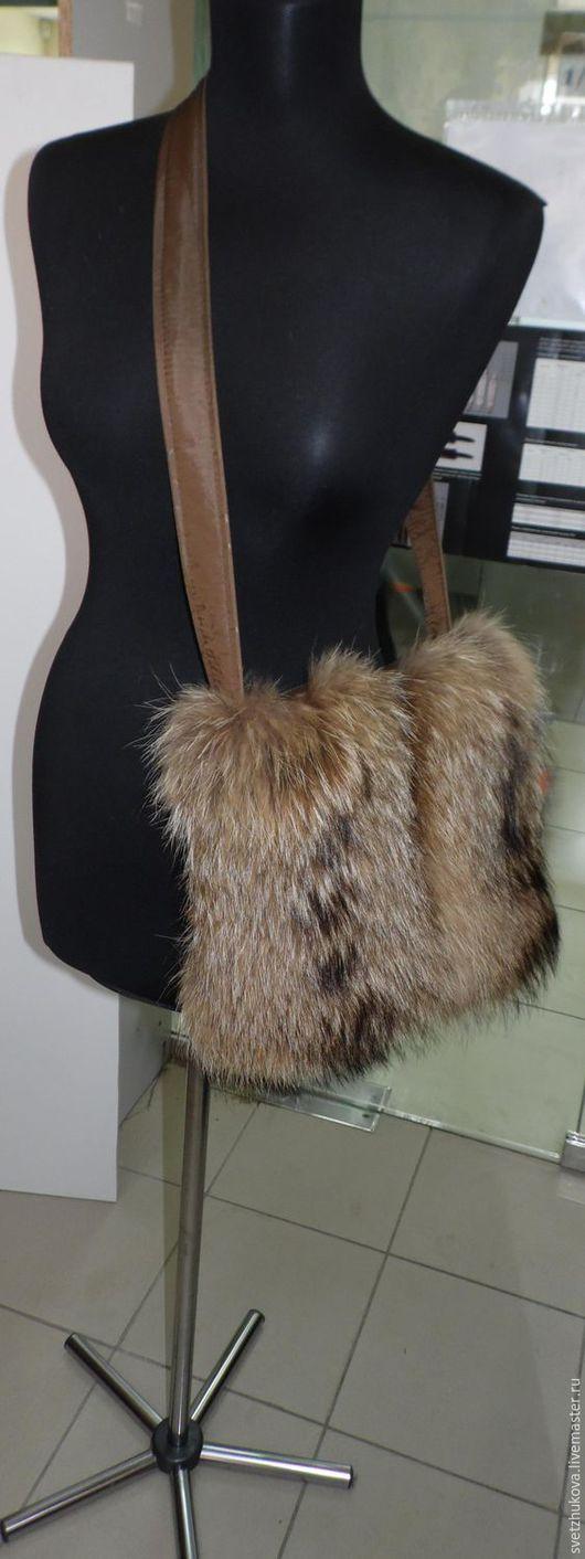 Женские сумки ручной работы. Ярмарка Мастеров - ручная работа. Купить Сумка-муфта из меха и ткани. Handmade. Рыжий