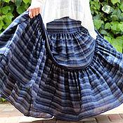 Одежда ручной работы. Ярмарка Мастеров - ручная работа Длинная летняя юбка синяя БОЛЬШОЙ РАЗМЕР. Handmade.