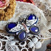 """Украшения ручной работы. Ярмарка Мастеров - ручная работа Украшение для волос в форме бабочки """"Индиго"""" : вышивка бисером. Handmade."""
