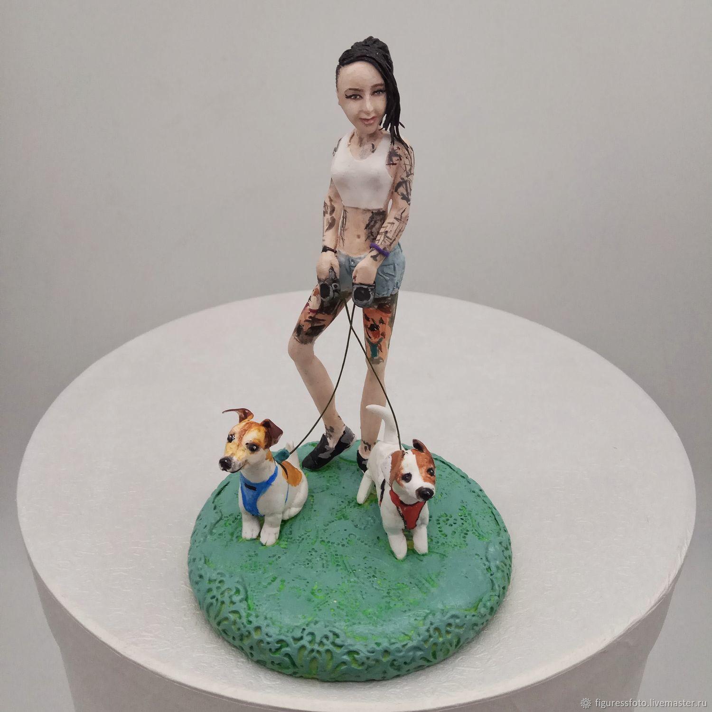 фигурка девушки с собаками, фигурка по фото, Портретная кукла, Москва,  Фото №1