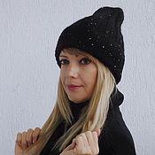 "Аксессуары ручной работы. Ярмарка Мастеров - ручная работа Шапка вязаная женская ""Гламурная)"", black. Handmade."