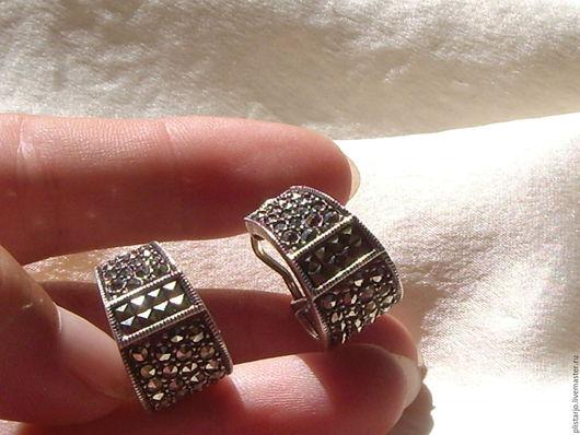 Винтажные украшения. Ярмарка Мастеров - ручная работа. Купить серебряные серьги,маркированы Judith Jack. Handmade. Серебряный, элегантный стиль