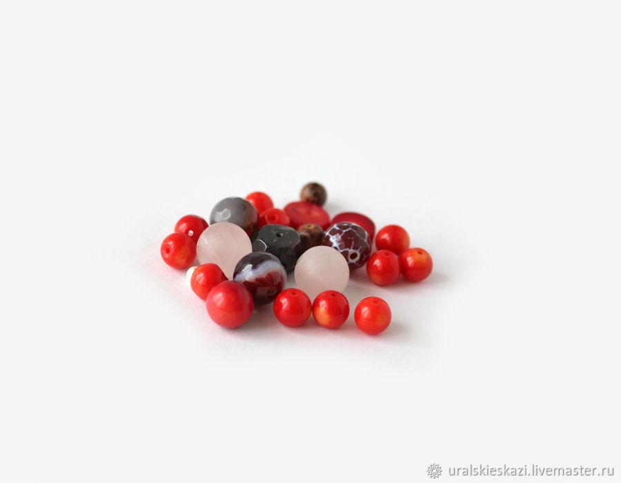 Набор бусин 20 шт камней ассорти для украшений красный бордо розовый, Бусины, Челябинск,  Фото №1