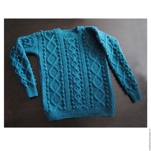 """Кофты и свитера ручной работы. Ярмарка Мастеров - ручная работа. Купить Пуловер бирюзовый """"Cozy"""". Уютный.. Handmade. Бирюзовый"""