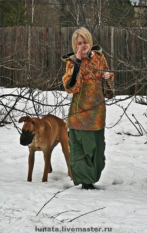 """Кофты и свитера ручной работы. Ярмарка Мастеров - ручная работа. Купить Валяно-вязаный свитер с капюшоном """"Эльфийские сказки Бо и Бьо"""". Handmade."""