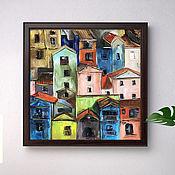 Картины и панно handmade. Livemaster - original item Houses, oil painting on canvas, city, painting with houses.. Handmade.