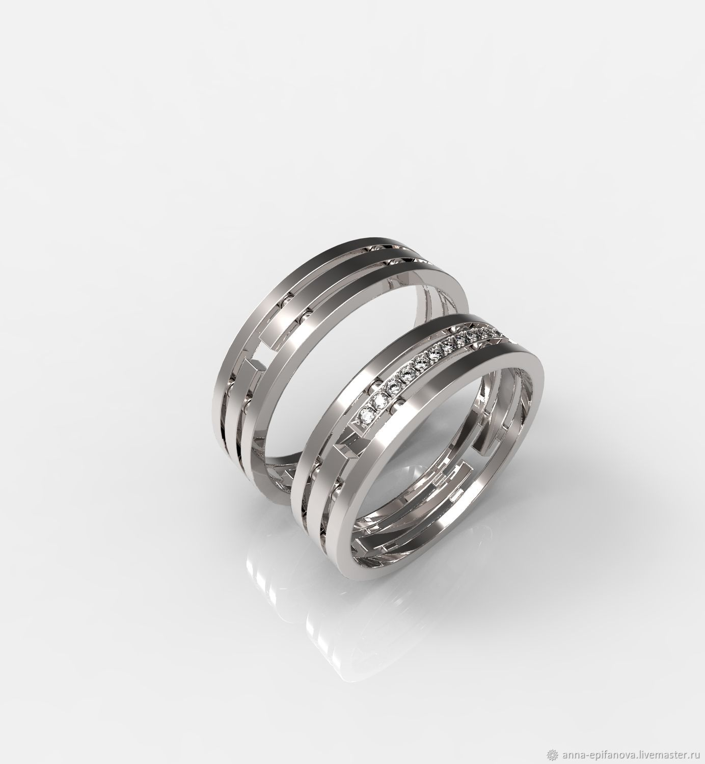 Paired wedding rings with stones male and female silver (OB53), Wedding rings, Chelyabinsk,  Фото №1