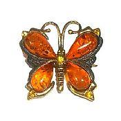 Украшения handmade. Livemaster - original item Brooch amber Butterfly decoration gifts for women girl orange. Handmade.