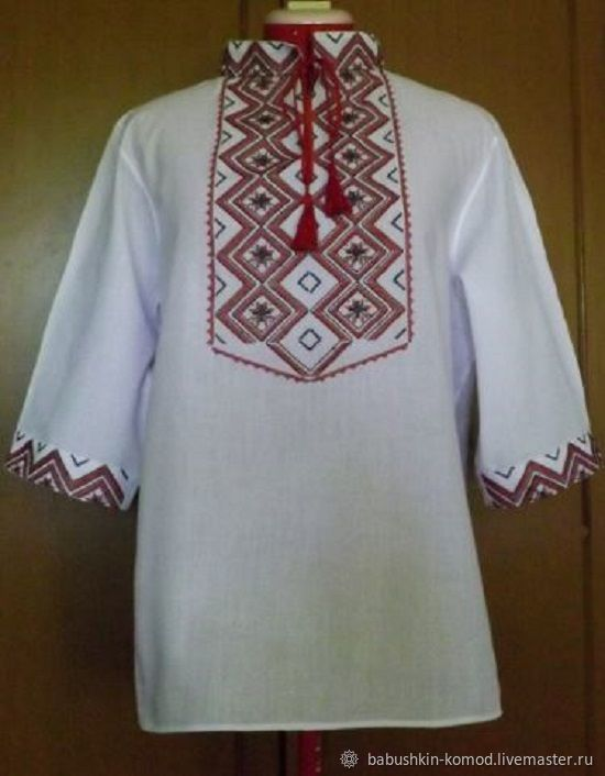 For Men handmade. Livemaster - handmade. Buy Men's embroidered shirt MP3-114.White, russian clothes