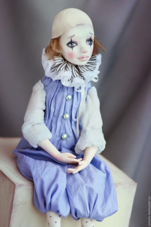 Коллекционные куклы ручной работы. Ярмарка Мастеров - ручная работа. Купить Подвижная кукла Пьеро. Handmade. Пьеро, голубой