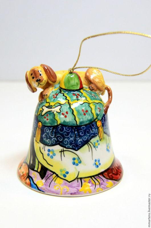 """Колокольчики ручной работы. Ярмарка Мастеров - ручная работа. Купить Колокольчик """"Такса"""". Handmade. Комбинированный, такса, фарфор"""