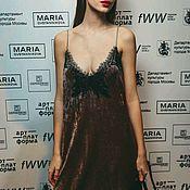 Одежда ручной работы. Ярмарка Мастеров - ручная работа Платье комбинация Матури из натурального бархата. Handmade.